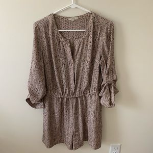 Loft abstract print romper in tan and black